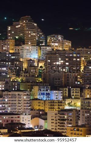 Monte Carlo city, Monaco, night buildings