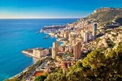 Monte Carlo cityscape colorful view from above, Principality of Monaco