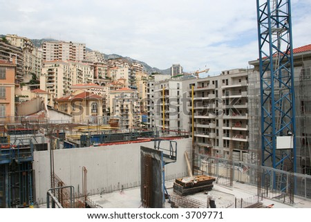 Monte carlo construction site surrounded by skyscrapers