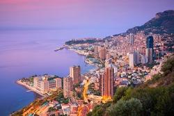 Monte Carlo, Monaco. Aerial cityscape image of Monte Carlo, Monaco during summer sunrise.