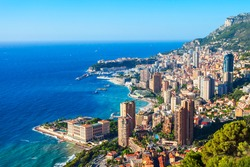 Monte Carlo, Monaco aerial panoramic view. Monaco is a country on the French Riviera near France in Europe.