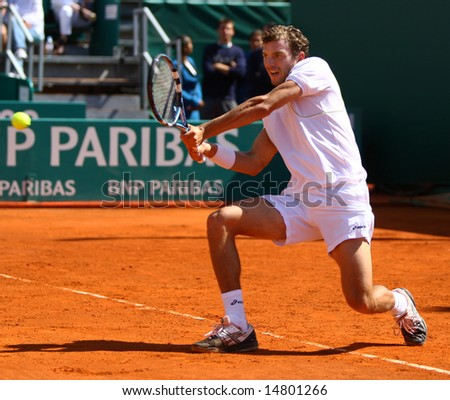 MONTE CARLO MONACO APRIL 21 Julien Benneteau France competing at the ATP Masters tournament in Monte Carlo, Monaco, 19-27 April 2008 - stock photo