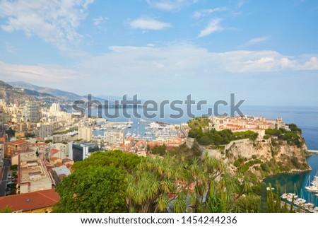 MONTE CARLO, MONACO - AUGUST 20, 2016: Monte Carlo city high angle view and coast in a sunny summer day in Monte Carlo, Monaco. #1454244236