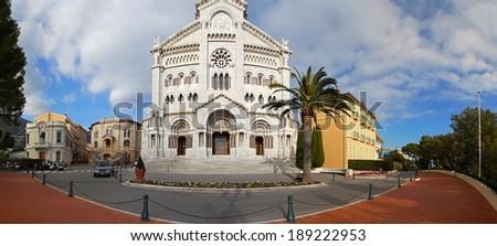 MONTE CARLO, MONACO - JANUARY 18: Saint Nicholas Cathedral in Monte Carlo on JANUARY 18, 2012. Saint Nicholas Cathedral with white Carrara marble stone in Monte Carlo, Monaco.