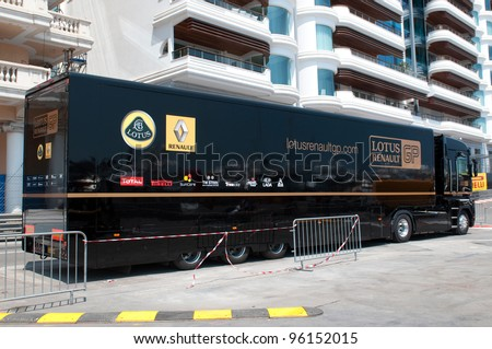 MONTE CARLO, MONACO - MAY 23, 2011: Lotus-Renault GP team truck on Formula1 Monte-Carlo track in Monaco on May 23, 2011, Monaco.