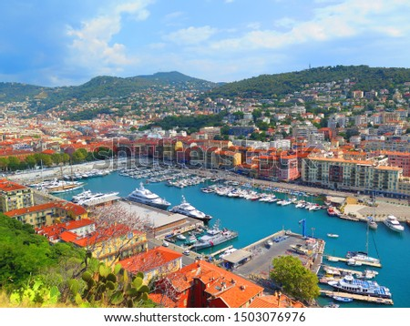 Monte Carlo, Monaco, 24.08.2019 - Panoramic aerial view of the yacht pier in Monte Carlo, Monaco. Azur coast. #1503076976