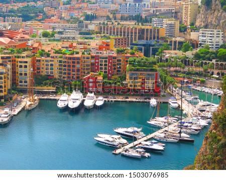 Monte Carlo, Monaco, 24.08.2019 - Panoramic aerial view of the yacht pier in Monte Carlo, Monaco. Azur coast. #1503076985