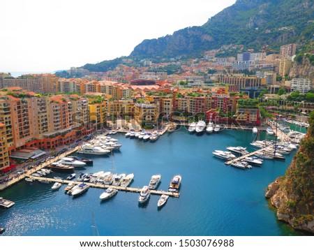 Monte Carlo, Monaco, 24.08.2019 - Panoramic aerial view of the yacht pier in Monte Carlo, Monaco. Azur coast. #1503076988