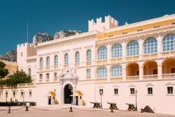 Monte-Carlo, Monaco. Royal palace, residence of Prince of Monaco. Sunny Summer Day.