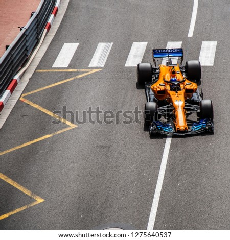 Monte Carlo/Monaco - 05/24/2018 - World champion #14 Fernando Alonso (SPA) in his papaya orange McLaren-Renault MCL33 during the opening day of running ahead of the 2018 Monaco Grand Prix #1275640537