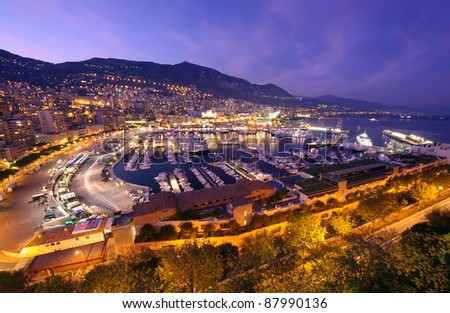 Monte Carlo port, Monaco. night scene