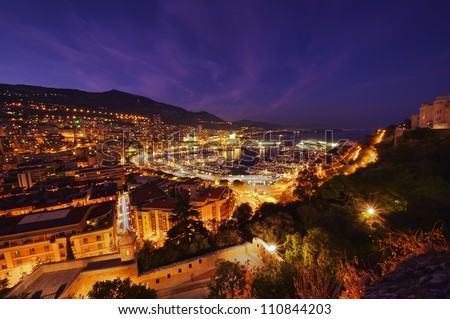 Monte Carlo port, Monaco. night scene, wide view