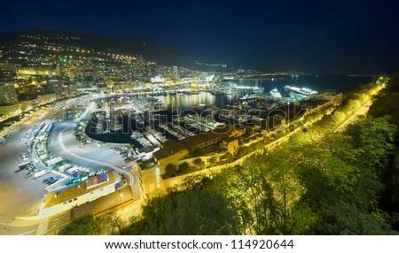 Monte Carlo port, Monaco. night scene, wide view