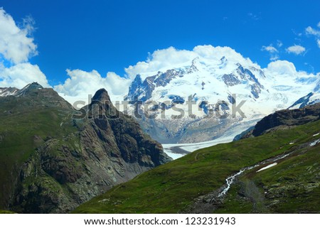 Monte Rosa massif with the second highest peak in Europe shoot on the path from Schwarzsee to Zermatt, Switzerland