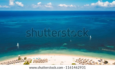 Montego Bay beach aerial shot  #1161462931