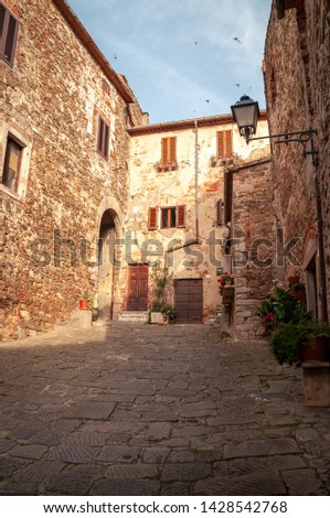 Montemerano, Tuscany. View of one of the inner lanes of the small medieval village with stone paving. Swallows flying in the sky