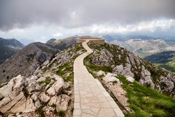 Montenegro Lovcen Peter Negosh mausoleum view famous Balkans travel landmark summer vacation tourism national park mountains destination outdoor panorama with clouds sightseeing view
