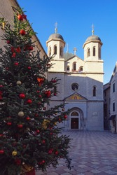 Montenegro, Old Town of Kotor - UNESCO World Heritage site.  Winter view of Orthodox Church of St. Nicholas