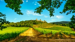 Monteriggioni medieval fortified village and vineyards, route of the via francigena, Siena, Tuscany. Italy Europe.