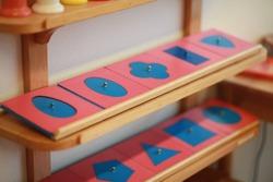 Montessori handwriting material in the classroom