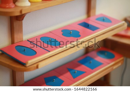 Montessori handwriting material in the classroom ストックフォト ©