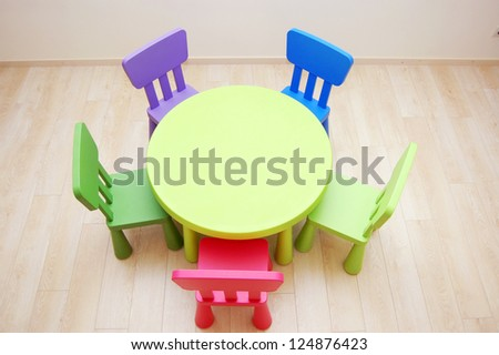 Montessori Kindergarten Preschool Classroom with table and chairs from above