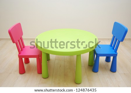 Montessori Kindergarten Preschool Classroom with table and two chairs