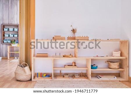 Montessori material, Kindergarten Preschool Classroom Interior ストックフォト ©