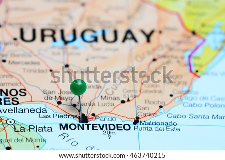 Shutterstock Montevideo pinned on a map of Uruguay