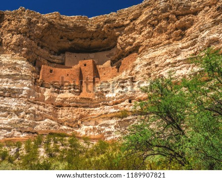 Montezuma Castle National Monument, a well preserved set of cliff dwellings in the Camp Verde area of Arizona, inhabited by the ancient Sinaguan people, closely related to the Hohokam, until 1425 AD.