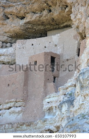 Montezumas Castle National Monument in Arizona. over 1000 years ago the Sinagua people built this cave dwelling high on the mountqain side #650107993
