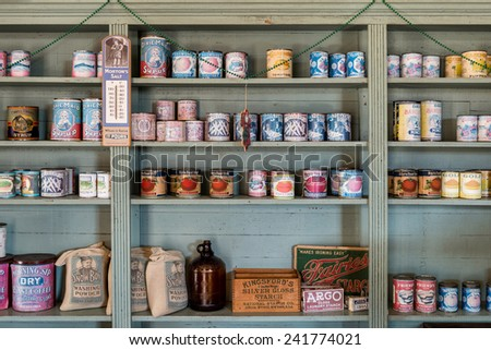 MONTGOMERY, ALABAMA - DECEMBER 4: Stocked shelves at David O'Leary's Corner Grocery on December 4, 2014 in Montgomery, Alabama #241774021