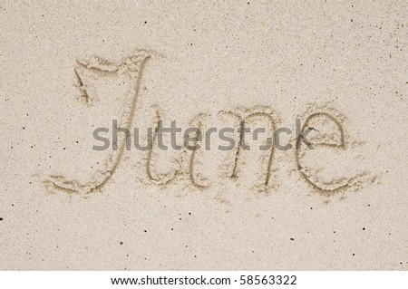 Month June in the sand