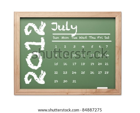 Month of July 2012 Calendar on Green Chalkboard Over White Background.