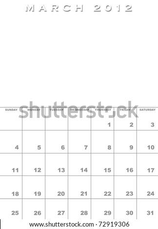 calendar template march. 2012 calendar template