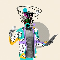 Month report. Comics styled triangled colorful suit. Modern design, contemporary art collage. Inspiration, idea concept, trendy urban magazine style. Negative space to insert your text or ad.