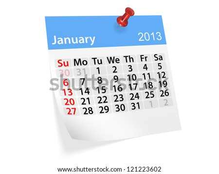 Monthly calendar for New Year 2013. January.