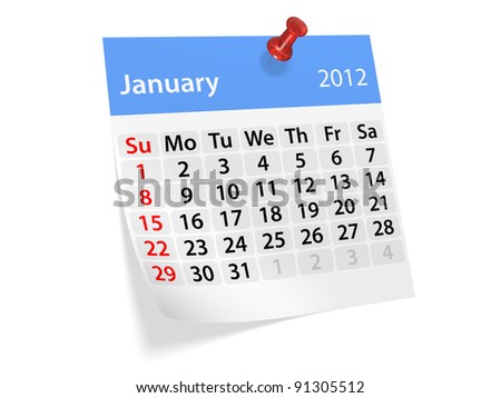 Monthly calendar for New Year 2012. January.