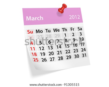 Monthly calendar for New Year 2012. March.