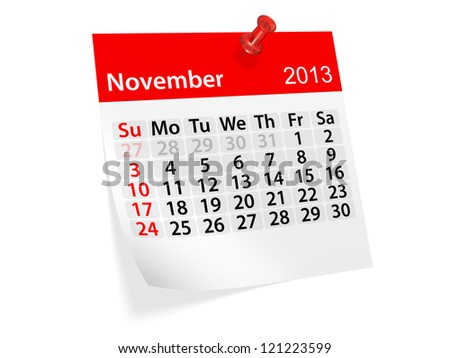 Monthly calendar for New Year 2013. November.