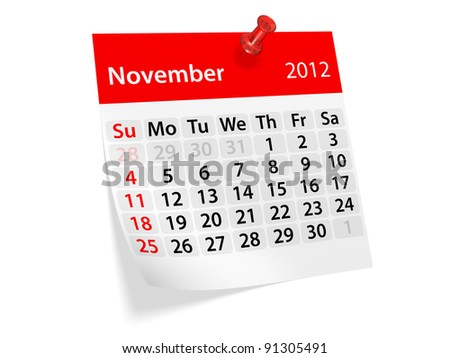 Monthly calendar for New Year 2012. November.