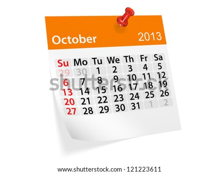 Monthly calendar for New Year 2013. October.