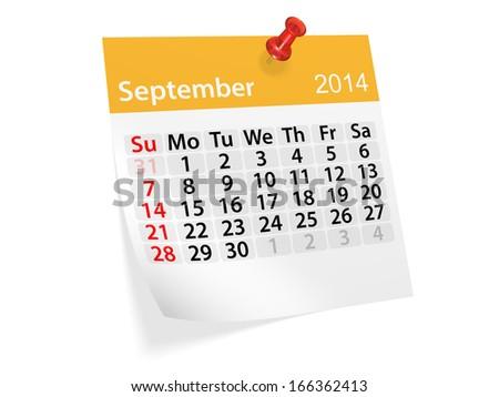 Monthly calendar for New Year 2014. September.