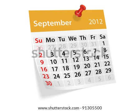 Monthly calendar for New Year 2012. September.