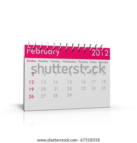 Monthly calendar for 2012 with spiral binder on top