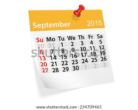 Monthly calendar for year 2015. September