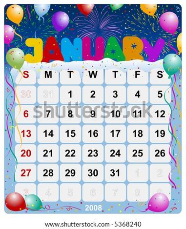 Monthly calendar January