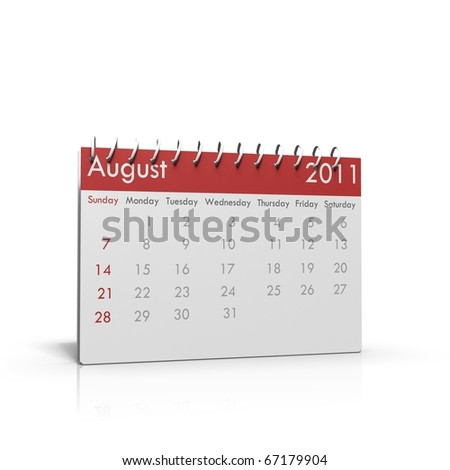 Monthly calendar of August 2011 with spiral on top