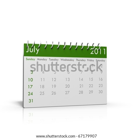 Monthly calendar of July 2011 with spiral on top
