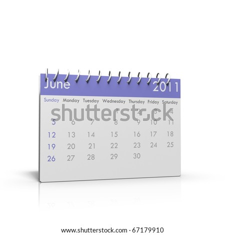 Monthly calendar of June 2011 with spiral on top
